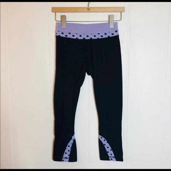 lululemon athletica Pants - Lululemon run inspire crop II High noon dot sz4
